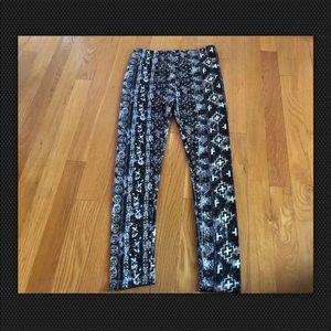 Poof Girls Black Brown Leggings Size M 10/12